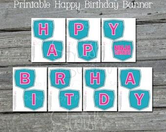 Ninja Birthday Banner | Printable Party Banner | Sign | Parkour | Digital Download | Teal Pink Blue |  Instant Download