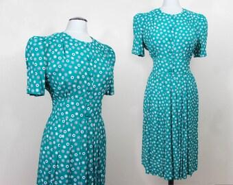 Teal print cotton Day Dress - 1980s - button front - L-XL