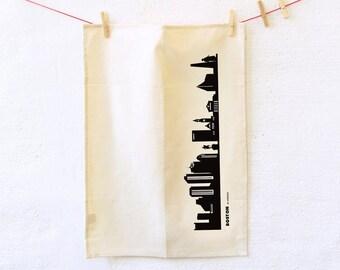 BOSTON Dish towel, Boston print black, Boston Tea Towel, Natural Kitchen Flour sack, Boston gift best friends, housewarming gift, 44spaces