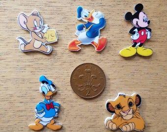 Set of 5 flat back characters