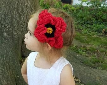 PATTERN to make Crochet Poppy Flower. Photo Props Handmade Headband. Instructions how to make flower headband.