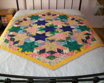 VINTAGE hand pieced patchwork, newly remade into a beautiful quilt