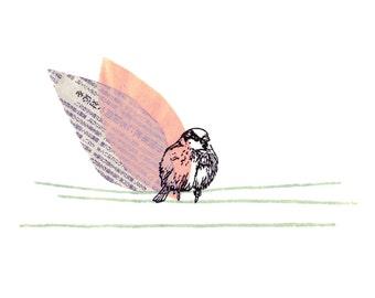 Sparrow - archival fine art print - A4