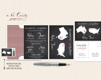 Destination wedding invitation Chalkboard-inspired Two Countries, Two Hearts bilingual wedding invitation DEPOSIT Payment