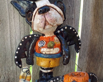 Folk Art Vintage Boston Terrier Bat Dog Doll Vintage Whimsical Nostaglic Style Ooak
