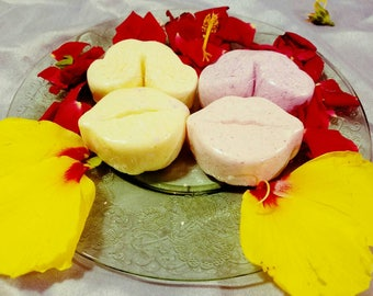 Mustache and Lip Bath Bombs-Set of 2- Sulfate Free- Gift- Great for Sensitive Skin- Variety of Colors and Scents-Coconut Oil