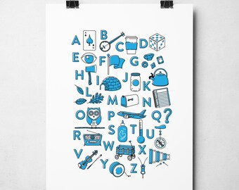 Alphabet Poster, Nursery Decor, My Alphabet Print, ABC Print, Children's Wall Art, Gift Idea