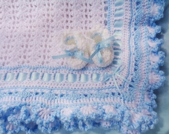 Crocheted Afghan Baby Boy White w Blue Ruffled Trim Matching Booties