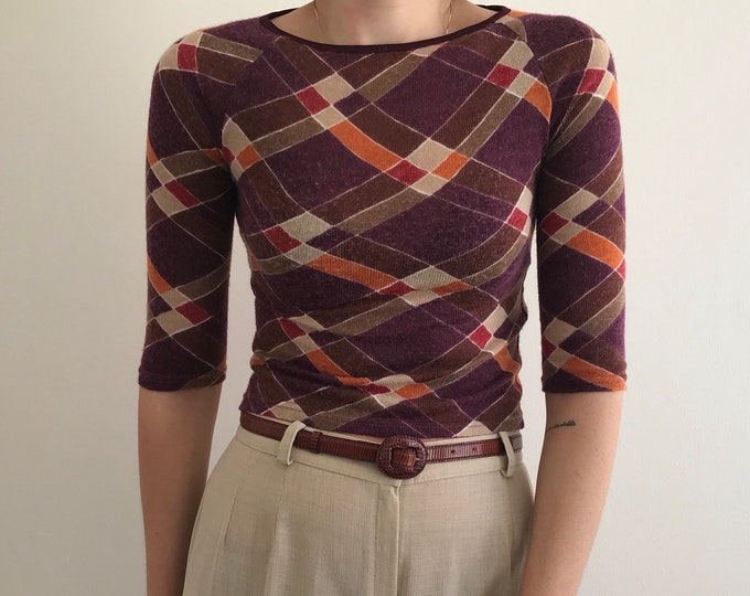 90's Vintage Asymmetrical Argyle Top