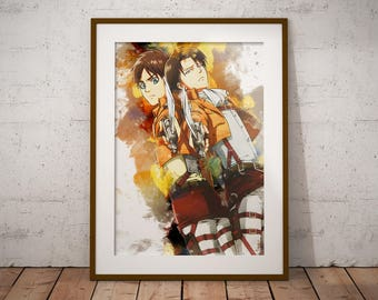 Eren Print Shingeki no Kyojin Poster AoT Print Levi Mikasa Eren Armin Anime Watercolor Art Print, Anime Poster Watercolor Wall Art n337