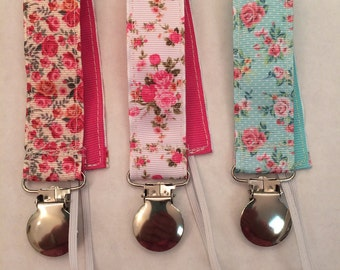 Vintage Floral Pacifier Clip