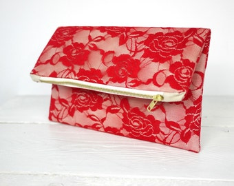 Red lace clutch, fold over red lace clutch   Red Bridesmaid Clutch   Wedding Clutch in Red