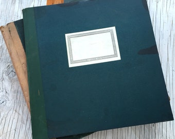 Antique unused square ledger, blue and grey square ruled pages, spotted page edges. Art book or sketch book.