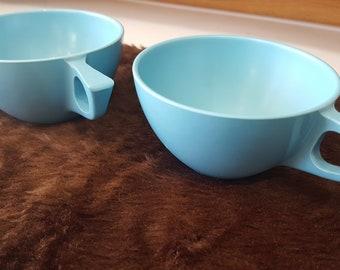 Vintage Blue Sun Valley Melmac Dishware, Molded Plastic Dinnerware, Melamine, Retro Kitchen Dishes, 1950's Kitchen, Sun Valley Melmac