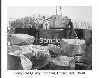 Loading Stone at Perryfield Quarry, Portland, Dorset. April 1930 Photo 10x8 FREE UK shipping