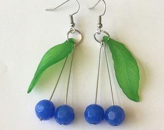 Handmade blue cherry earrings