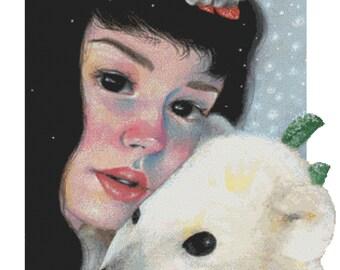 Cross stitch kit, Candace McKay, Casiphia's Companion Winter, Polar Bear, Modern Needlecraft Set, Christmas cross stitch kit, Pattern