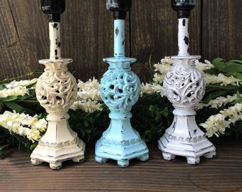 TABLE LAMP-CHALK Paint-You Pick Color-Small Lamp-Decorative Lamp-Distressed-Cottage chic decor-Nursery-Painted Lamp-Shabby decor-Home Decor