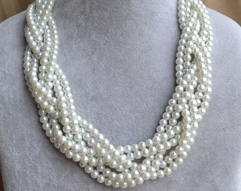 white pearl Necklace,Glass Pearl Necklace,six strand Pearl Necklace,Wedding Necklace,bridesmaid necklace,choker necklace,faux pearl necklace