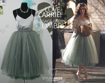 Carrie Bradshaw Ombré Tulle Skirt Leaf Green 7 Layers Super Puff exclusive handmade layers, Prom Dress Tulle Skirt Woman, Tulle Skirt Bridal