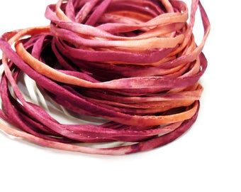 """5PC. ELECTRIC MELON 2MM Hand Dyed Silk Jewelry Cord//5PC Hand Dyed Silk Cording 1/8"""" X 36""""//Hand Dyed Silk Jewelry Bracelet/Necklace Cording"""