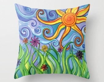 Throw Pillow printed with Sun Original Artwork, Decorative Throw Pillow, Accent Pillow, Colorful Home Decor, Children's Room, Nursery Decor