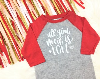 All You Need is Love Raglan, onesie® or shirt / Valentine's Day Tee, Valentine's Day Shirt, Valentine's Day T-shirt, Valentine's Day