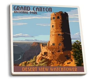 Grand Canyon, AZ Desert View Watchtower LP Artwork (Set of 4 Ceramic Coasters)