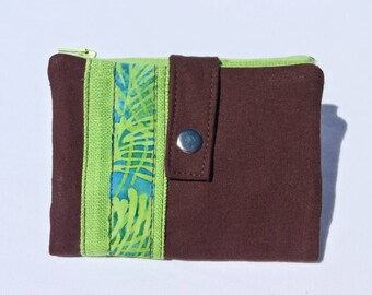 Apple green and Brown fabric wallet