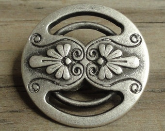 """Large Round Metal Buttons Silver with Cutouts -  Shank 3/4"""""""