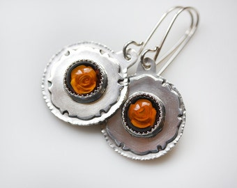 ON SALE/ Amber Rose Earrings/ Natural Carved Baltic Amber/ Honey Yellow Earrings/ Textured Sterling Dangles/ Sterling Medallions/ Rose Drops