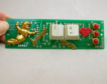 Recycled CIRCUIT BOARD MAGNET Vintage Brass Cupid Red Hearts