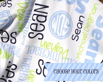 Personalized Crib Blanket - Monogrammed Receiving Blanket - Custom Name Baby Blanket - Newborn Swaddling Blanket - Baby Photo Prop
