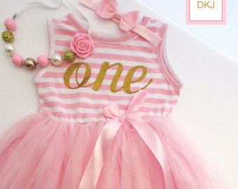 1st birthday girl Outfit- Baby Girl First Birthday Outfit-1st birthday dress- baby dress- Pink and gold dress-Pink stripes tutu dress