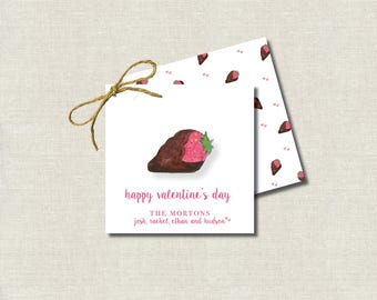 Valentine's Day Hand Painted Watercolor Calling Cards Chocolate Covered Strawberry  / Gift Tags / Favor Tags / Valentine's Treat Tags