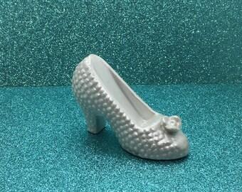 Bridal Shower Cake Topper ~ Revamped Vintage Ceramic Pearl Wedding Shoe