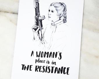 Star Wars Print, Princess Leia, Leia Organa, Feminist print, Carrie Fisher print, Sci-Fi, Star Wars movie, Movie poster, Star Wars Art, Leia