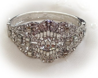 Art Deco vintage 1920's inspired bridal occasion bracelet silver petite size