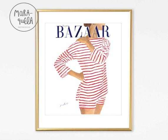 Harper's BAZAAR Cover 1951 Watercolor Handmade. Fashion Illustration Vintage magazine.