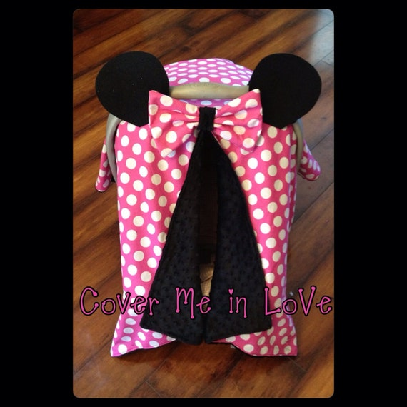 Minnie Mouse Car seat canopy pink and white polka dot cotton