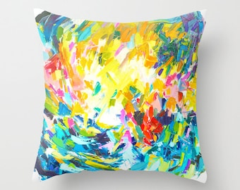 Rainbow Colorful Abstract Painting Pillow Cover. A fun painted pillow cover that adds abstract art and vibrant color into any space.