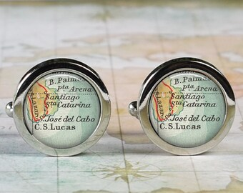 Cabo San Lucas cuff links, Cabo map cufflinks Los Cabos destination wedding gift for groom map cuff links groomsmen or best man gift