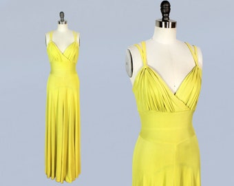 RESERVED -- Rare 1930s Dress / Late 30s Early 40s CHARTREUSE Rayon Jersey Gown!