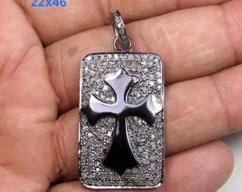 ON SALE 1.70 CT Pave Diamond Cross Design 925 Sterling Silver Pendant Necklace-Odct-29