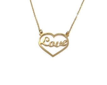 Love necklace. Heart necklace. Personalized Gold heart name Necklace. Name heart necklace. Personalized romantic necklace. Love jewelry.