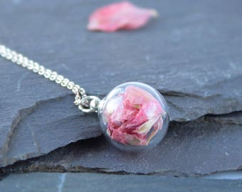 Mini Dark Pink Flower petal Necklace with silver chain