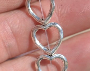 BULK 50 Silver Plated Heart 14mm Beads BD407