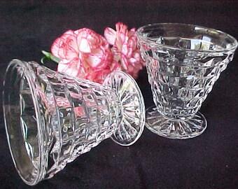 Vintage Fostoria American 3 Ounce Cone Footed Cocktails (2), Elegant Depression Crystal Glassware, Mid Century Deco Barware