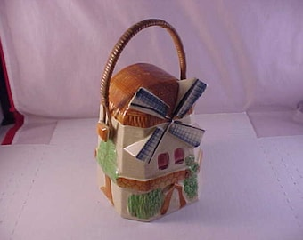 Ceramic Windmill Figural Basket Canister Made In Japan