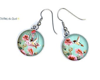 Earrings birds and roses, flower hooks allergy ref.257
